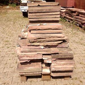 11-qm-Mauerabdeckplatten-90-qm-Steinplatten-Naturstein-Boden-Sandstein-Mauer