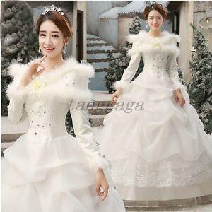 Winter Womens Korean Wedding Dress Cotton Long Sleeved Fur Collar