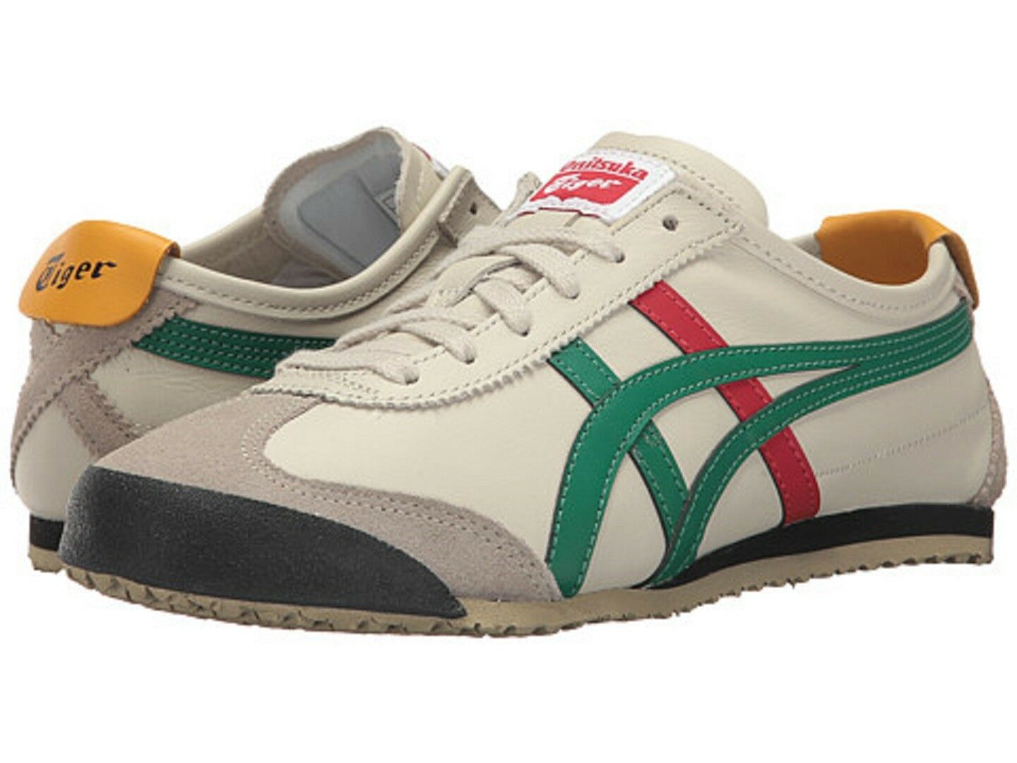 premium selection c978e 707f0 ONITSUKA TIGER DL408.1684 MEXICO 66 Mn's (M) Birch/Green Leather Lifestyle  Shoes