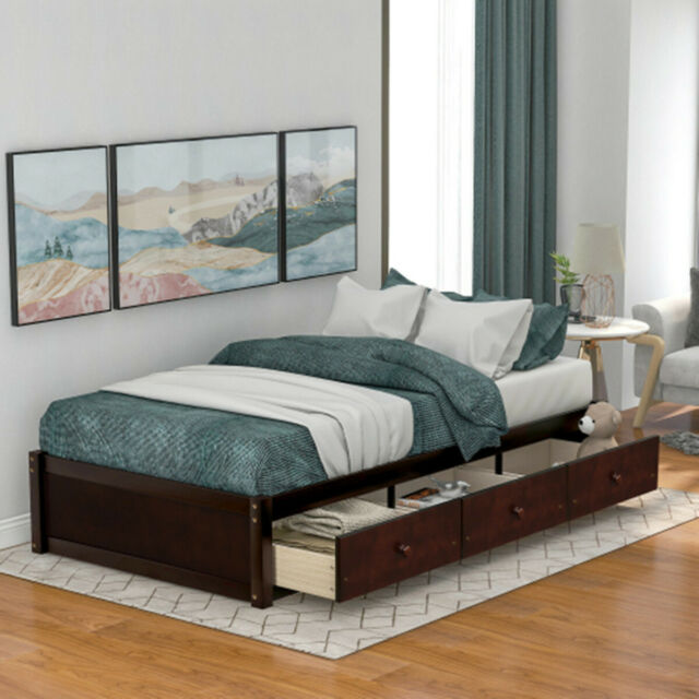 Full Queen Size Natural Maple Wooden, Queen Size Under Bed Storage