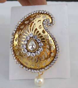 Details about Indian Ethnic Fashion Jewelry Saree Pin / Sari pin /Brooch  Gold Tone /Cz Stone