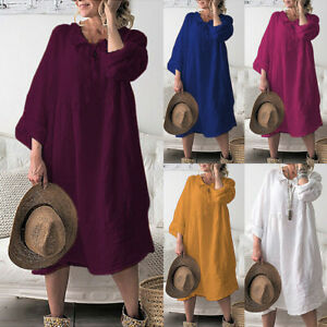 Baggy-Womens-Pure-Casual-Short-Sleeve-Cotton-Linen-Ladies-Tunic-Tops-Loose-Dress