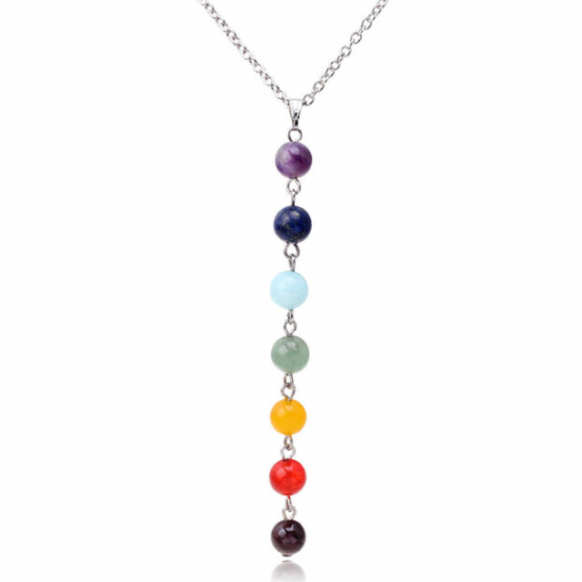 7 chakra beads pendant chain necklace women yoga reiki healing 7 chakra beads pendant chain necklace women yoga reiki healing balancing jewelry aloadofball Images