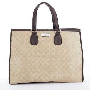 063b0ae9245 GUCCI beige GG monogram canvas dark brown leather top handle tote ...