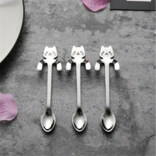 Hanging Cat Spoon Stainless Steel Kitten Coffee Cream Mixing Drinking Tableware