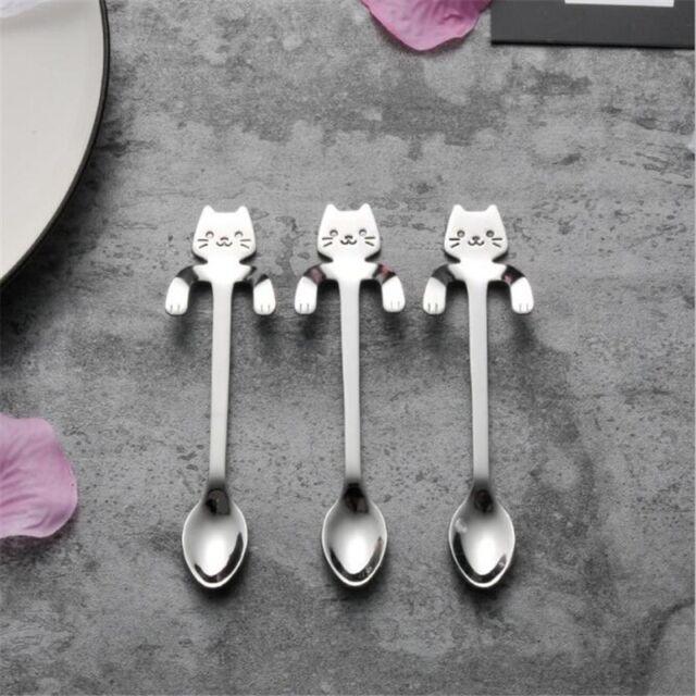 COD Stainless Steel Cat Coffee Drink Spoon Tableware Kitchen Tool Hanging cup Bu