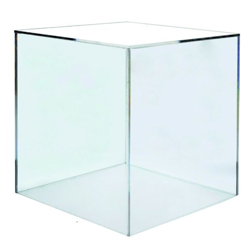 Clear acrylic 200mm perspex 5 sided box cube
