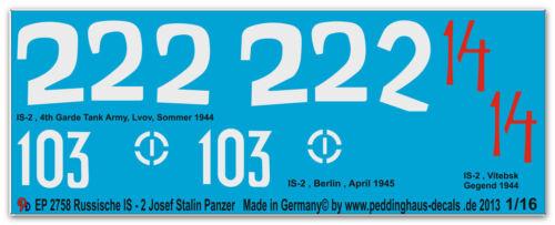 Peddinghaus 2758 1//16 3 verschiedene IS-2 Josef Stalin Panzer