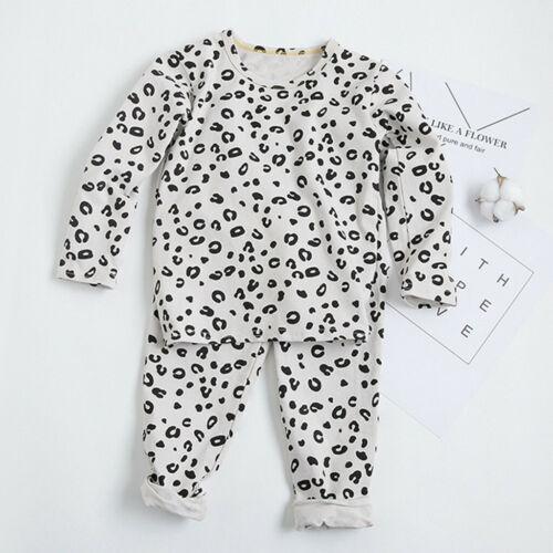 Toddler Kids Boys Girls Long Sleeve Tops Leopard Pants pajamas Sleepwear Outfits