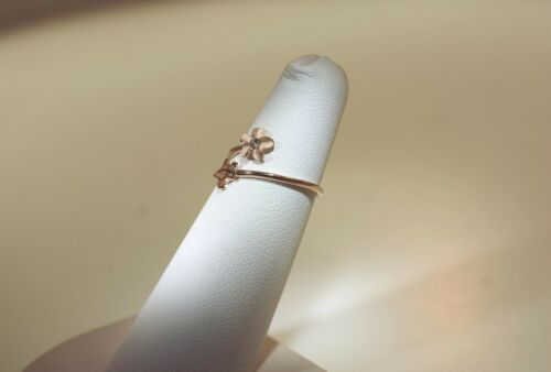 6MM ROSE GOLD PLATED 925 SILVER 2-IN-1 HONU TURTLE PLUMERIA ADJUSTABLE CZ RING