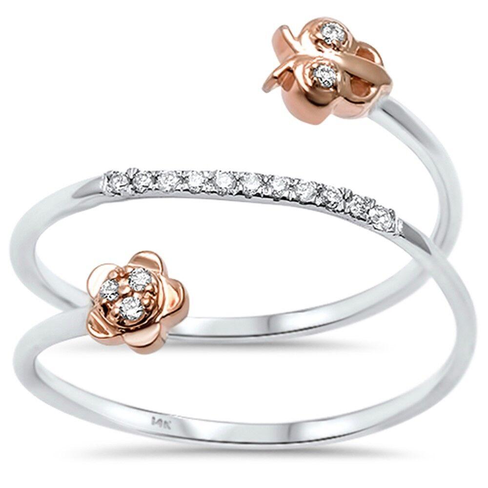 .06ct F VS2 14kt Two Tone gold Owl Flower Open Wrap Around Diamond Ring Size 6.5