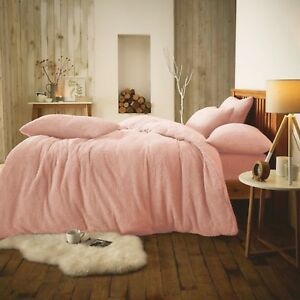 New Pink Teddy Warm Soft Fleece Bedding Duvet Set All