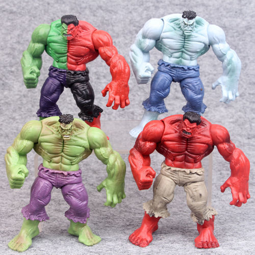 "Set 4 pcs The Incredible Hulk Green Red hulk action figure 4.3/"" Avengers legends"