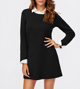 0a0c2a7a70e White Collar And Cuffs Long Sleeve Black Short Tunic Dress Casual ...