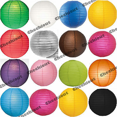 """6x 12x Round 12"""" Color Paper Lanterns with LED Light Wedding Party Decoration"""