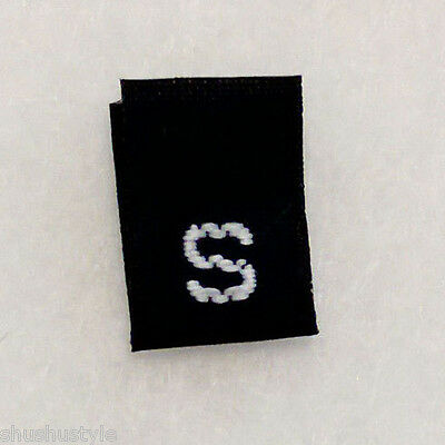 size S Small BLACK-Qty 100 clothing woven labels tags tab