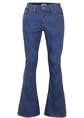 NEW Unisex DENIM FLARES 60s 70s Retro Stretch ZAP Flared Jeans Blue Stonewash