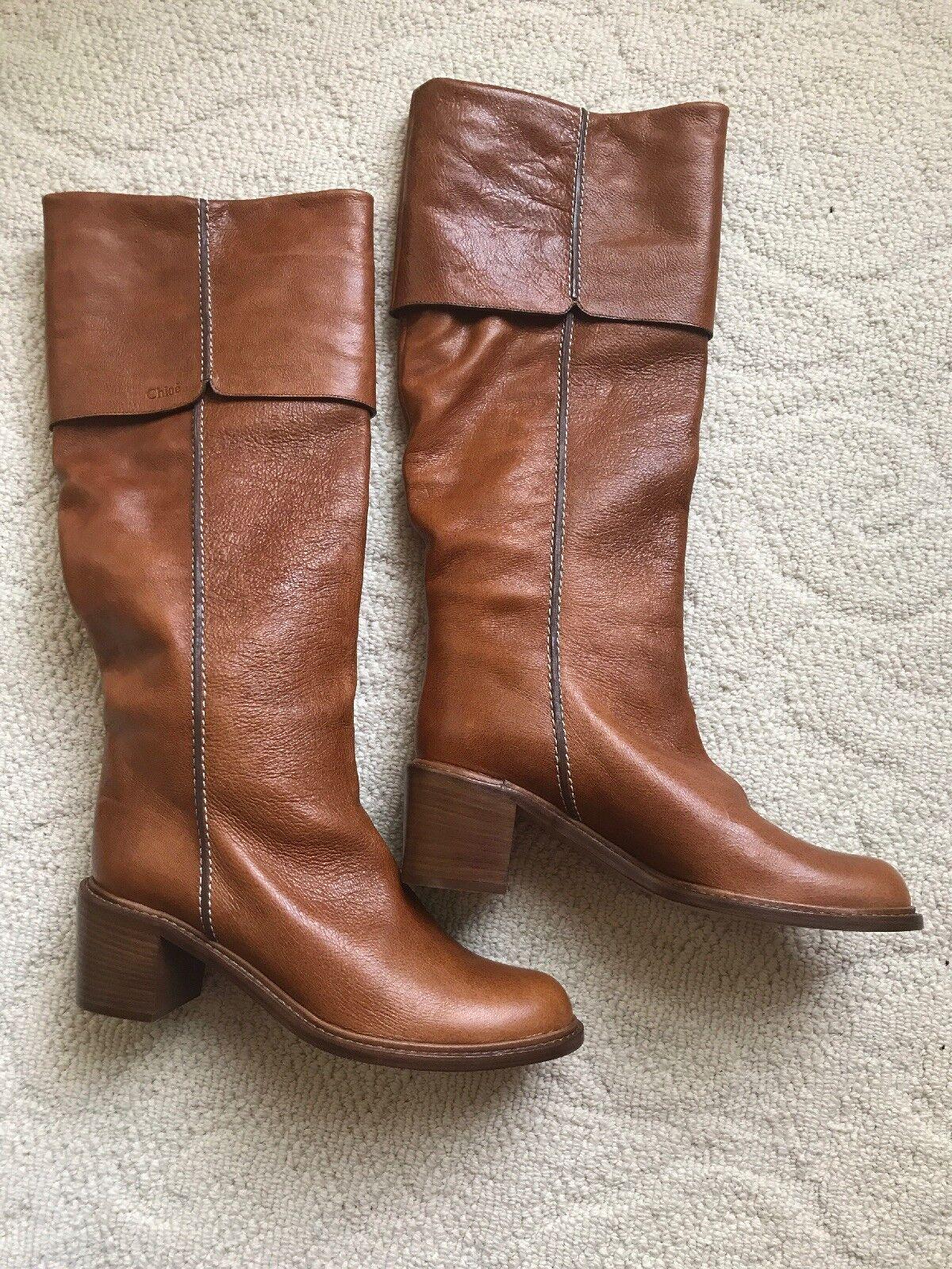 Nuevo Sin Sin Sin Caja Chloe Alto Cuero marrón claro botas De Montar Hasta la Rodilla Alta 40.5 US 10.5  nueva marca