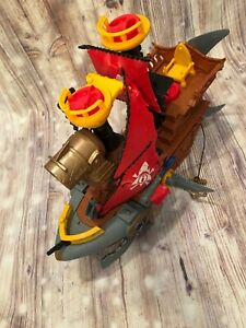 Imaginext-Shark-Bite-Pirate-Ship-Boat-Fisher-Price-Brown-Yellow-Red-Blue-Black