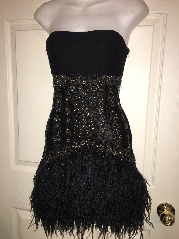 Sue Wong Nocturne Negro  con cuentas de Seda Vestido Flapper Rumba W Plumas de Avestruz  0  ahorra 50% -75% de descuento