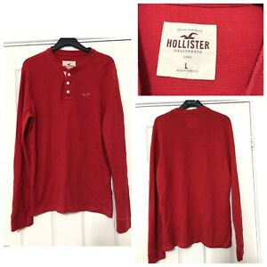 Hollister-Long-Sleeve-T-Shirt-Mens-Red-Size-Large-L-C99