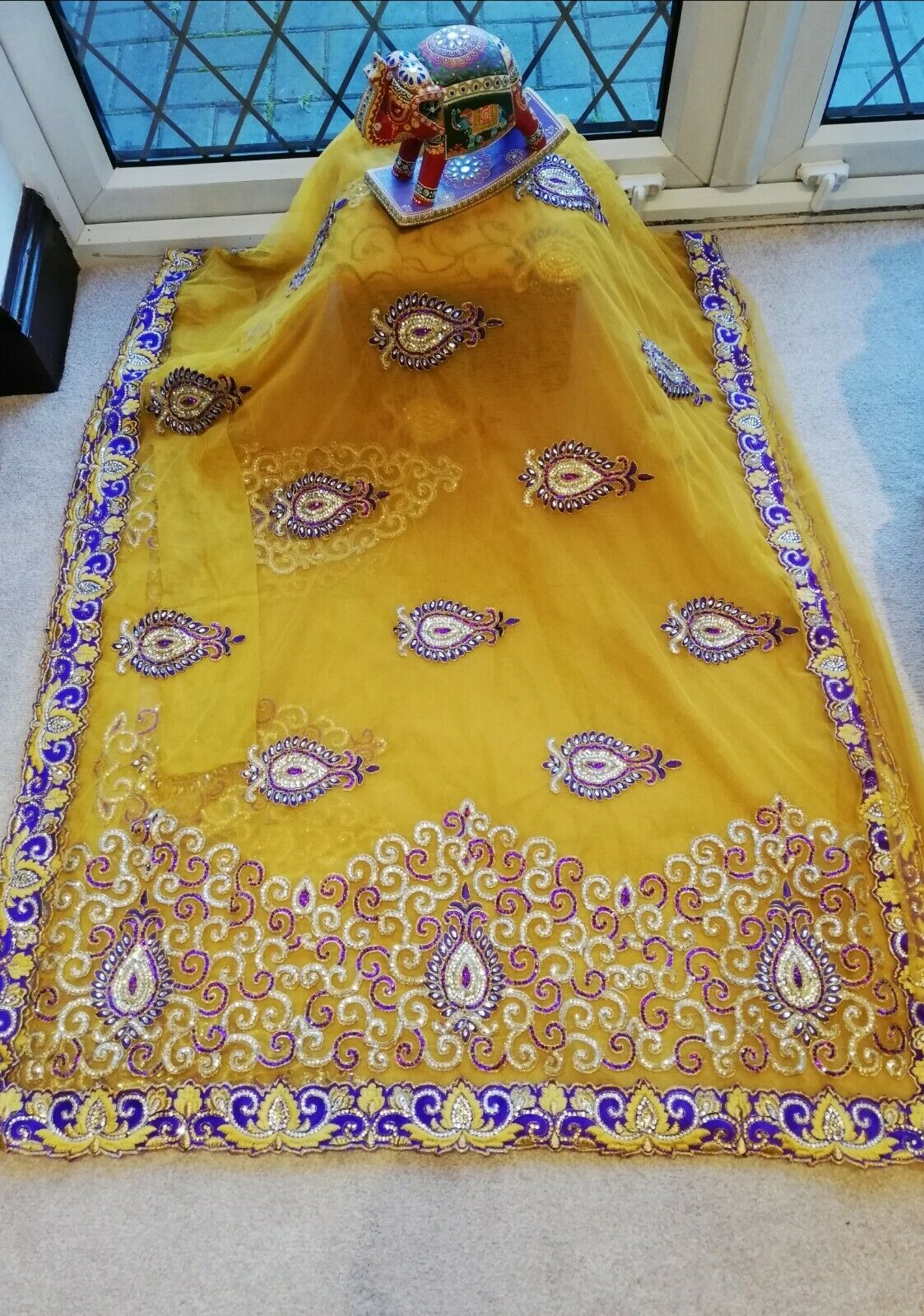 Indian Bollywood Bridal Party Designer Net Georgette mustard Yellow Saree Blouse