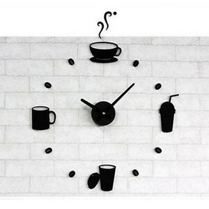Image Is Loading Large Wall Clocks Diy Kitchen Clock Coffee
