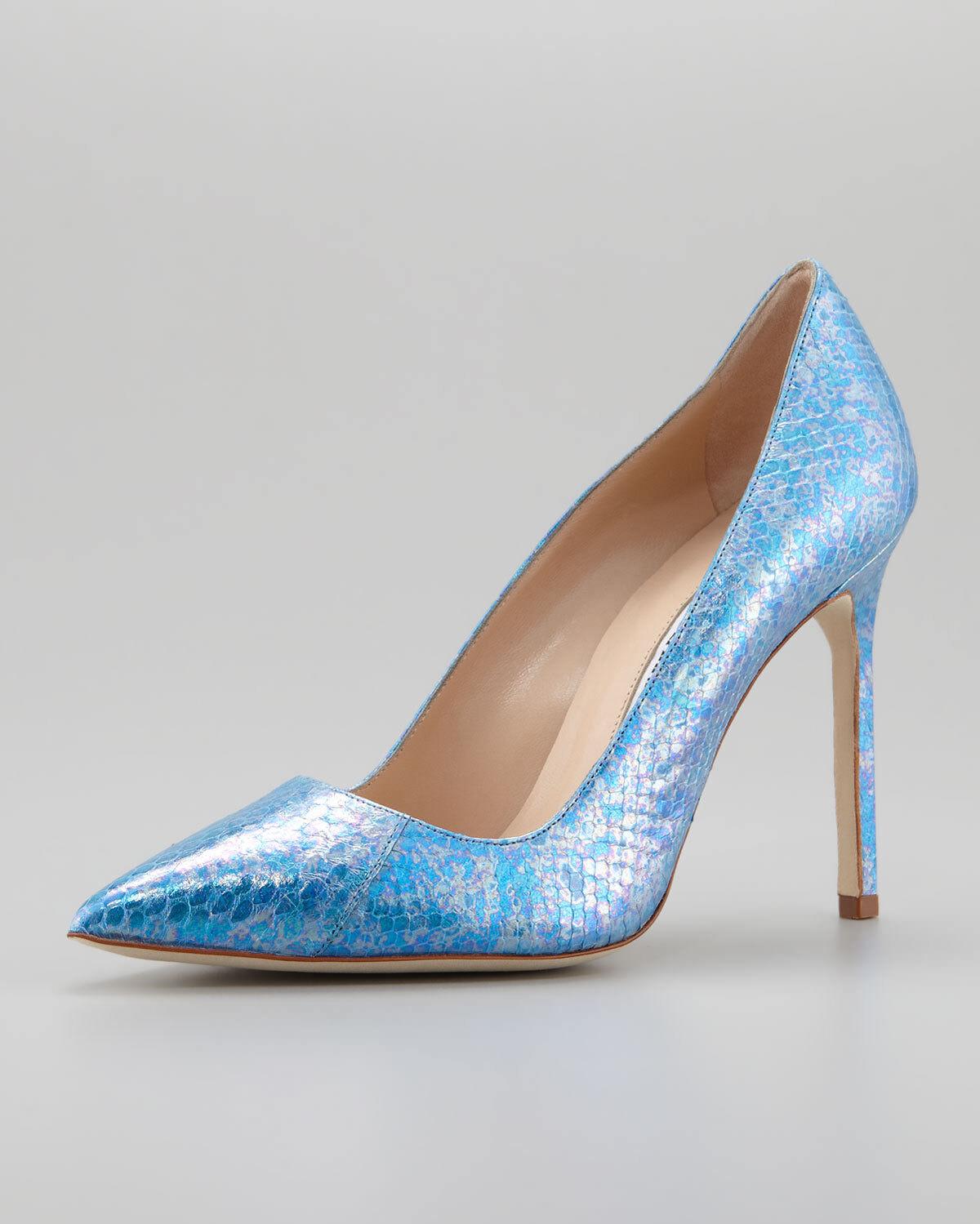 NEW Manolo Blahnik BB 105 EXOTIC Snakeskin PYTHON Pump bluee Heels shoes 37