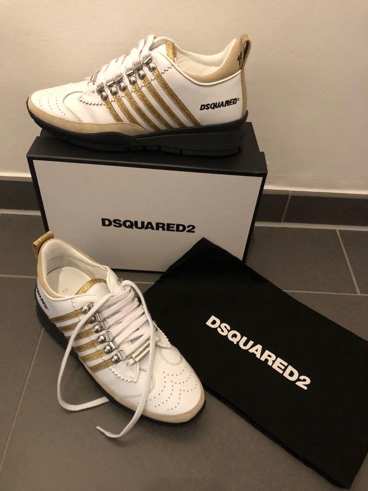 Dsquared Sneaker weiß gold Neu Gr 40 Original Vitello Sport Unisex