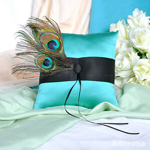 Turquoise-Satin-Feathers-fur-Ring-Bearer-Pillows