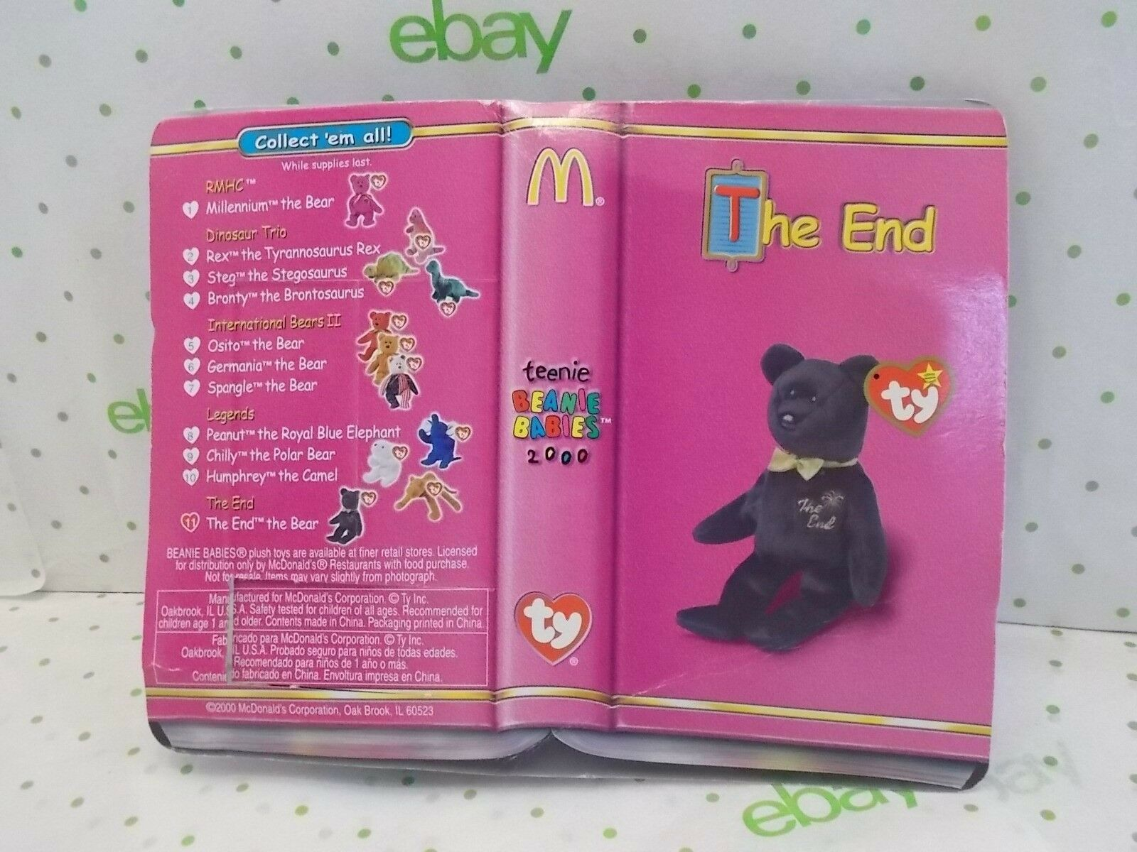 McDonald's  Retired Ty Ty Ty Beanie Baby  The End  Bear 566cb3