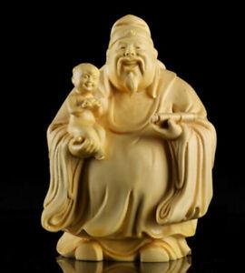 10*8*6cm Chinese Box-wood Hand Carving Taoism Immortal Lucky Fu God Statue 福星