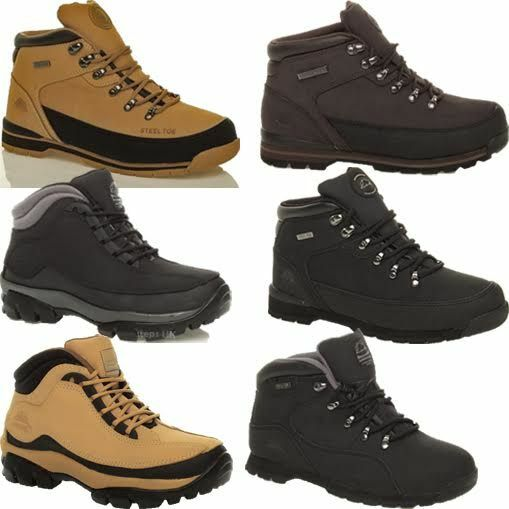 MENS GROUNDWORK LEATHER SAFETY TRAINERS STEEL TOE CAP WORK BOOTS HIKING SHOES SZ