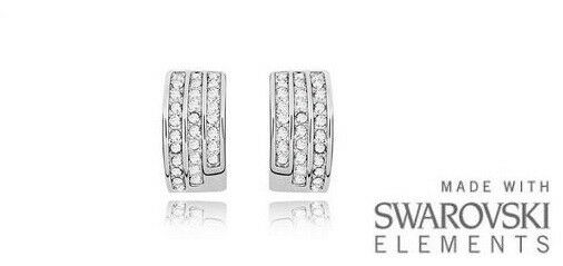 c4daf9372 Made With Swarovski Elements White Gold Plated Crystal Clear Stud Earrings  - for sale online   eBay