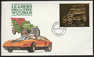 Zambia (398) 1987 Classic Cars - FORD in 22k gold foil on First day Cover