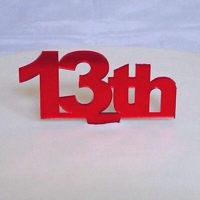 13th Compleanno Cake Topper-specchiato Rosso- Tecnologie Sofisticate