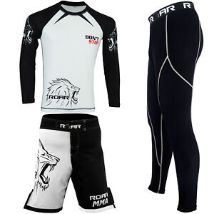 ROAR-MMA-Grappling-Rash-Guard-BJJ-Fight-Shorts-UFC-Thermal-Compression-Gym-Pents