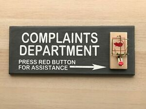 Complaints Department Mouse Trap 3d Sign Funny Office Prank Gag Gift Man Cave Ebay