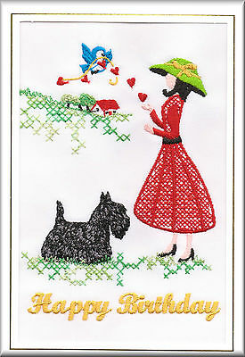 FREE PERSONALISATION English Toy Terrier Birthday Card Embroidered by Dogmania