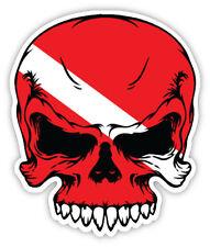 Scuba Dive Skull Decal with Flag face  Diver etichetta sticker 10cm x 12cm