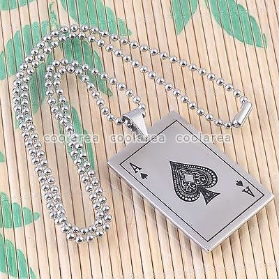 "19"" Mens Silvery Stainless Steel Ace Spades Poker Card Pendant Necklace Fashion"