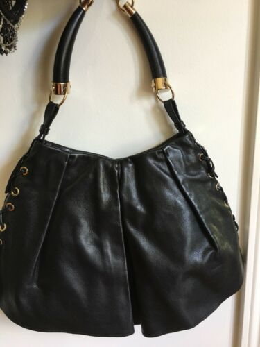 304ccab81b27 ... YSL Yves Saint Laurent Rive Gauche Black Mombasa Leather Shoulder Bag.