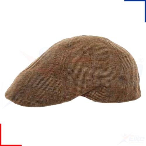 Homme Carreaux Plat Casquette à visière-laine mélangée Country Racing Hat Newsboy Baker