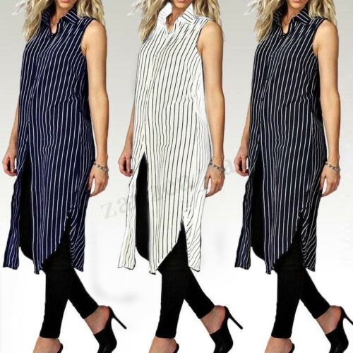 Vintage Damen Gestreift Shirtkleid Asymmetrisch Teilt Top Hemdkleid Longshirt