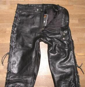 fette-Herren-Schnuer-LEDERJEANS-Motorrad-Lederhose-schwarz-ca-W32-034-L35-034