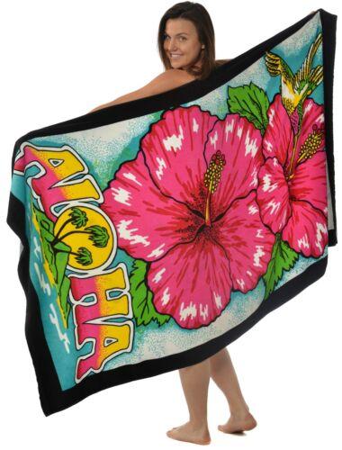 "Luxury Velour Bath Beach Towel 40/""x70/""  ALOHA HIBISCUS"