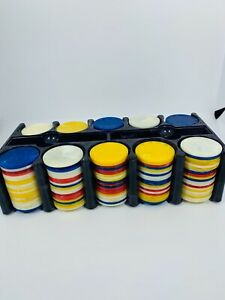 Vintage-Bakelite-Celluloid-Poker-Chips-And-Purple-Rack-Red-Blue-White-Yellow