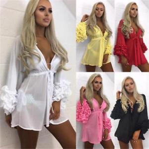 Damen Strandbedeckung Lang Puffärmel Badeanzug Sommer Strand Kleid Tunika Robe