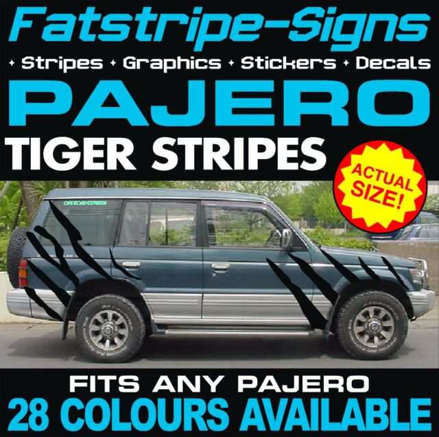 Mitsubishi pajero tiger stripes graphics decals stickers 4x4 3 0 v6 off road
