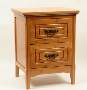 Image Is Loading NATURAL BAMBOO WOODEN BEDSIDE TABLE CABINET DRAWER STYLISH